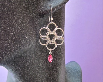 Handmade Chainmaille Sterling Silver Reverse Tao Flower Earrings with Swarovski Pink Crystal Drop Dangle