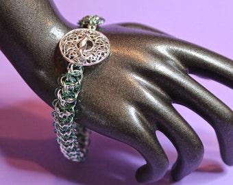 Handmade Niobium and Sterling Silver Elfweave Bracelet