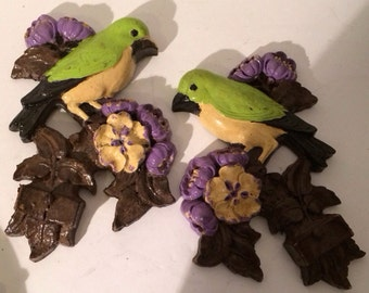 Syroco Wood 1940s Set of Birds Sitting of Flowered  Branch Vintage