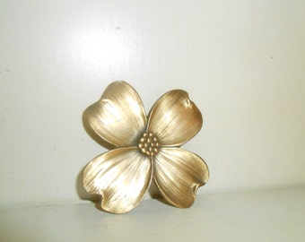 Vintage Danforth Pewter Pin Brooch Dogwood Gold Tone / Brass Color Signed and Dated 1993