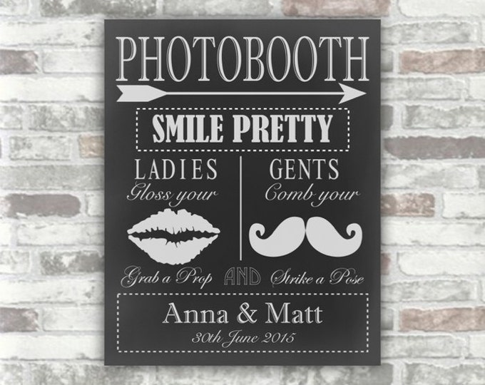 PERSONALISED PHOTOBOOTH Sign - Printable Digital File Download - black & white chalkboard - DIY Print your own Wedding Decor moustache, lips