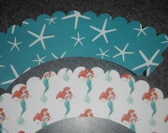 Ariel Cupcake Wrapper  Little Mermaid  Set of 12