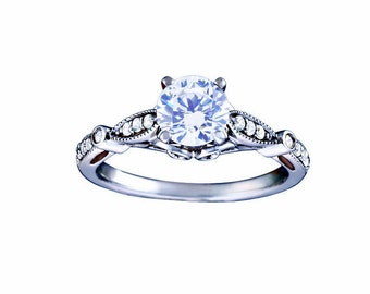 Certified diamond engagement ring 0.63 ctw 14 k white gold hand made