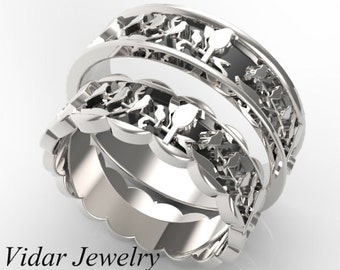 Matching Wedding Bands,His And Her Wedding Bands,Unique Wedding Band,Birds Leaves Wedding Band,Leaves Wedding Band,Black and White Gold Ring