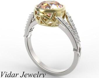 Morganite Engagement Ring,Unique Engagement Ring,Two Tone Engagement Ring,Engagement Ring,Bezel Set Ring,Vintage Ring,2 Carat Ring,Vidar