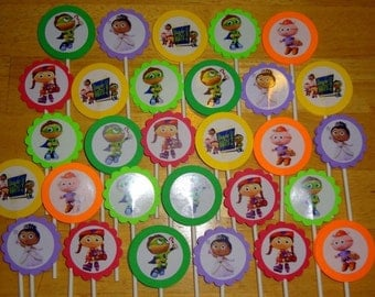 30 ct SuperWhy personalized cupcake toppers birthday party favors decoration