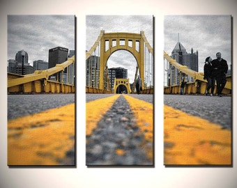 Urban Triptych, Fine Wall Art, Pittsburgh Bridge in gold, black, and white - Black and Yellow