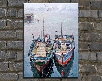 oil painting,boats painting,palette knife pinting seascape,framed,ready to hang,huge 40''