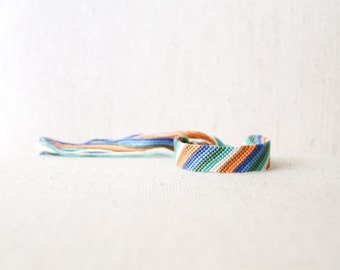 Friendship Bracelet Wide Geometric Striped Multicolored Bracelet Stripes Woven Bracelet