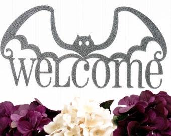 Halloween Bat Welcome Metal Sign - Silver, 14.5x7.5, Halloween Decor, Halloween, Bats, Outdoor Sign, Door Sign, Wall Art