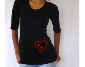 Maternity Shirt  with red  heart and footprints