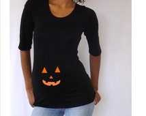 Maternity Halloween shirt with jack o lantern face.  Halloween shirt, maternity clothes
