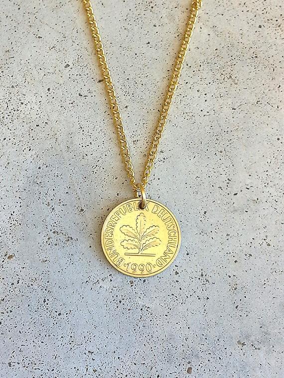 vintage necklace german germany europe deutsche mark leaf gold