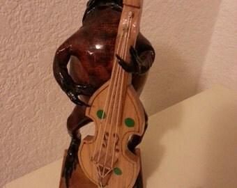 Brown Frog Playing Bass Figurine