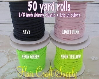 NAVY - Skinny Elastic 50 yard roll for baby and adult headbands thin one eighth inch width rolled on tiny rolls for storage