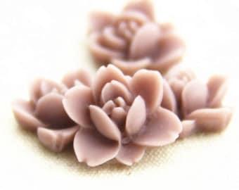 12 pcs of resin lotus flower cabochon RC0011-9-dark lilac