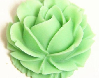 6 pcs of resin rose cabochon-38x38x20mm-RC0069-12-jade green
