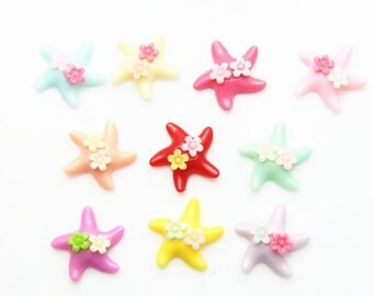 12 pcs of resin starfish with floewr cabochon-22mm-0286-mix color