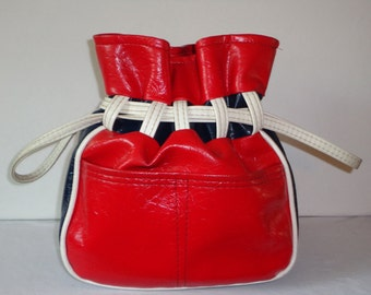 Fourth of July RED WHITE and BLUE  1960's Pouch Drawstring Purse