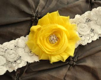 Garter Wedding, Garter Bridal - Ivory Lace Garter, Toss Garter, Shabby Chiffon Bright Yellow, Yellow Wedding Garter Belt, Yellow Garter