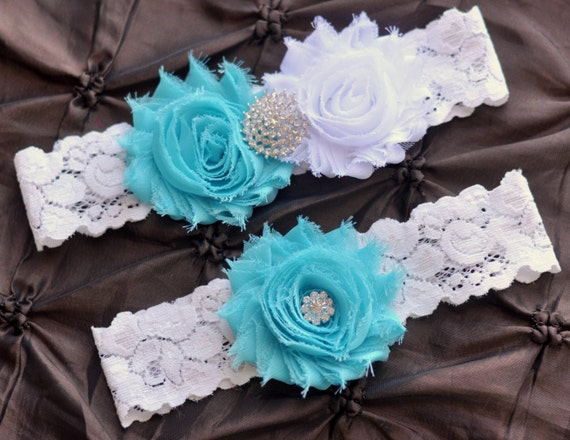Wedding Garter Belt, Bridal Garter Set - White Lace Garter, Keepsake Garter, Toss Garter, Shabby Chiffon White Aqua Garter, White Garter