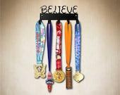 Believe ( Magical Font) Running  Medal holder by SportHooks, medal hanger, medal rack, medal hooks ; view more at : www.sporthooks.com