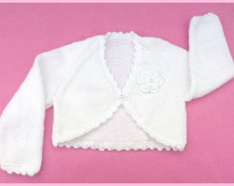 Baby sweater. Baby girl hand knitted white baby bolero cardigan to fit 3 to 6 months