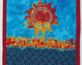 One of a Kind Sun Applique Wall Art Quilt, Yellow Red Sun on Turquoise Landscape Textile Red Yellow Sun Threadpainted Cloth Fabric sun