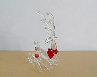 Blown Glass Deer with Antlers and Doe Clear with Red Heart Around Neck