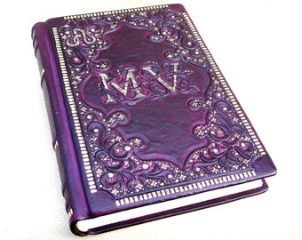 Leather Journal, Wedding Guest Book, Purple Leather, A4, Medieval Style, Personalized, Gilded Ornamentation