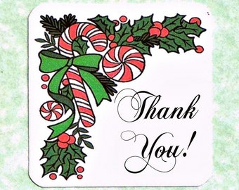 Christmas Thank You Card Tags Peppermint Candy Cane in Big Green Bow Mini Customer Appreciation Note Cards With or Without String Ties