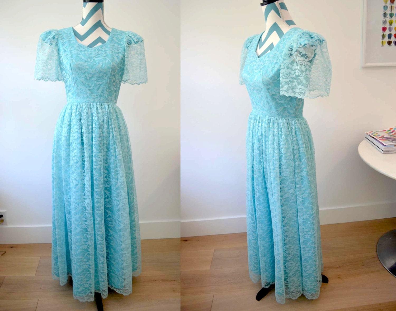 Vintage 1950s Lace Prom Dress Aqua Long Turquoise Lace Dress