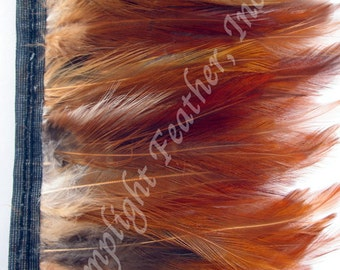 Rooster hackle feather trim, natural red/brown, per 5 yards