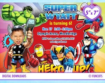 Popular items for super hero squad on etsy - Carte anniversaire super heros ...