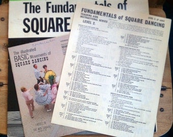Vintage Fundamentals of Square Dancing LP by Sets In Order & 2 Illustrated Square Dance Instruction Booklets