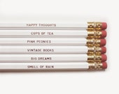 White Necessities Pencils. Set of 6. Gold Foil Text