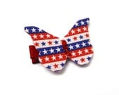 SALE Red, White, and Blue Butterfly Clip