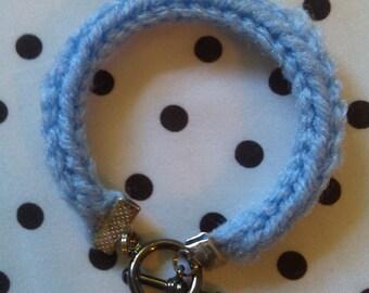 Hand Knit Light Blue I-Cord Bracelet