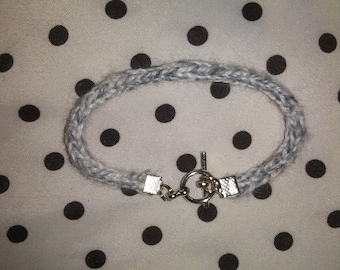 Hand Knit White and Gray I-Cord Bracelet