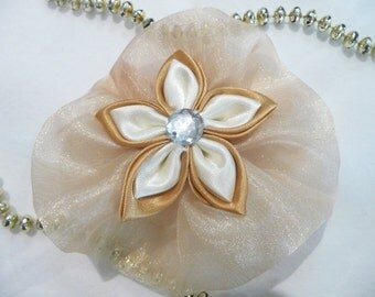 Gold organza hair clip with gem flower in centre, gold flower clip, organza flower clip, gold hair accessory