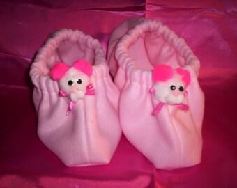 Adult Baby Sissy Cozy Fleece Footie Slippers Warm Cute Womens Mens Childrens