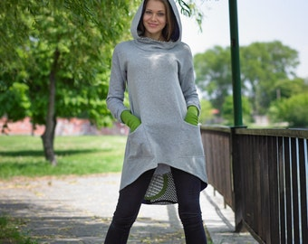 Extravagant Long Hoodie/ Top/ New/ Cozy/Collection Lazy Mondays/ 100% cotton fabric/ Gray with green color/ Made to order