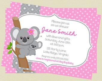Printable Pink and Gray Koala Baby Shower Invitation