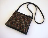 Woven Diamond Design Cross-Body Bag --Multi/Black with Ultra-Suede Lining