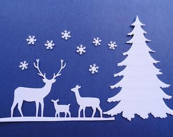 Two White Christmas Scene Sets