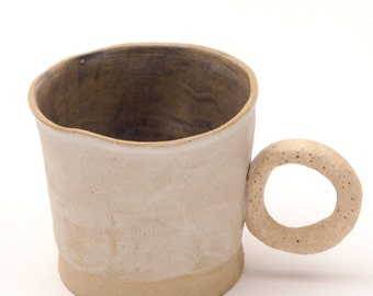 SALE! Stoneware cup with round handle