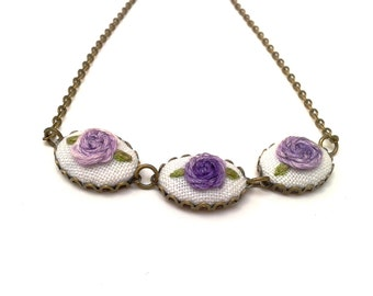 Rose Parade necklace hand embroidered, purple roses.