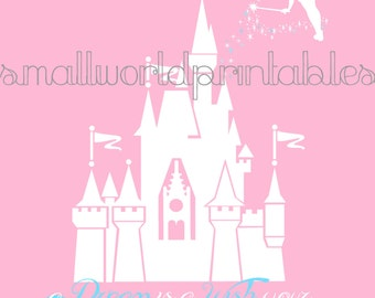 INSTANT DOWNLOAD Princess Disney Castle Silhouette Wall Art in 2 sizes - 8x10 11x14