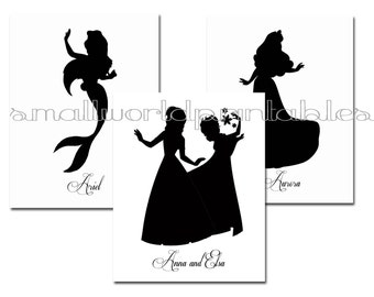 Princess Silhouettes in Black with Names 8x10 Printables Wall Art - Digital File or printed