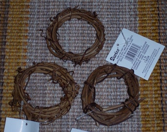 "3"" grapevine wreath,set of 3,natural craftpiece,wreath embellishment,florals,nests,spring,fall crafting"